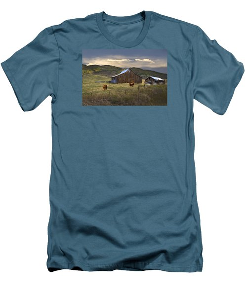 Men's T-Shirt (Slim Fit) featuring the photograph Longhorns On The Road To Steamboat Lake by John Hix