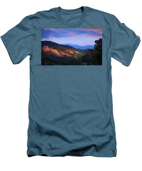 Longs Peak And Glowing Rocks Men's T-Shirt (Slim Fit) by J Griff Griffin