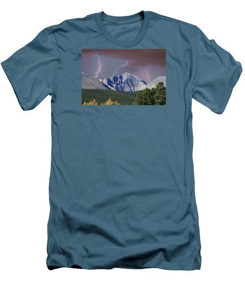 Longs Peak Lightning Storm Fine Art Photography Print Men's T-Shirt (Athletic Fit)