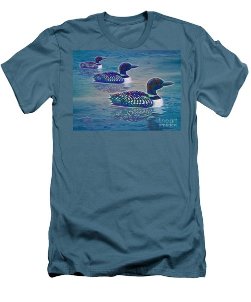 Men's T-Shirt (Slim Fit) featuring the painting Loon Lagoon by Teresa Ascone