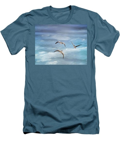 Loons Over Ice - Three Men's T-Shirt (Slim Fit) by Vicki Jauron