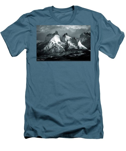 Men's T-Shirt (Slim Fit) featuring the photograph Los Cuernos In Black And White by Andrew Matwijec
