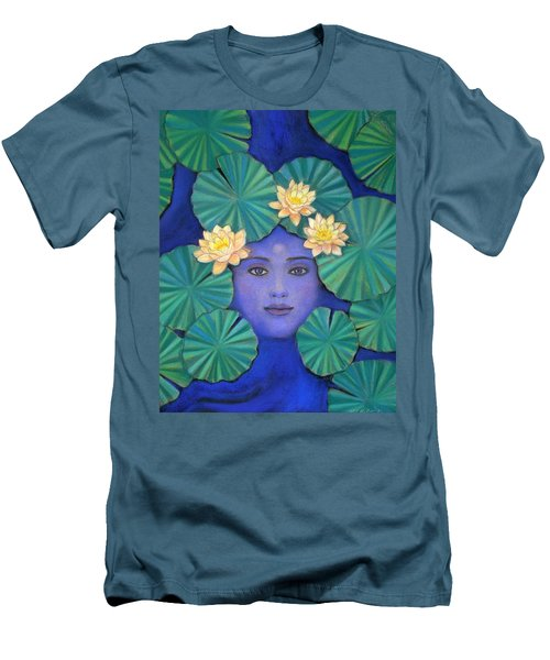 Men's T-Shirt (Slim Fit) featuring the painting Lotus Nature by Sue Halstenberg