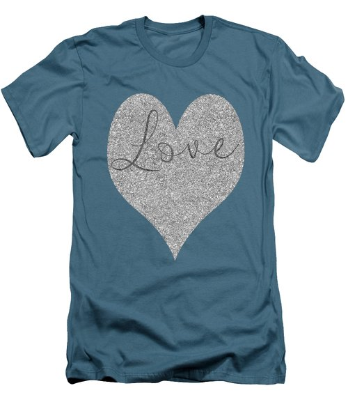 Love Heart Glitter Men's T-Shirt (Slim Fit) by Clare Bambers