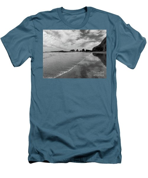 Low Tide - Black And White Men's T-Shirt (Slim Fit) by Scott Cameron