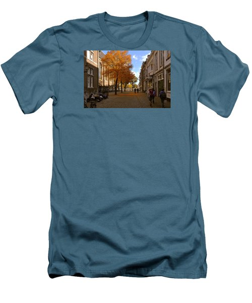 Men's T-Shirt (Slim Fit) featuring the photograph Little Lady Mary Square In October Maastricht by Nop Briex