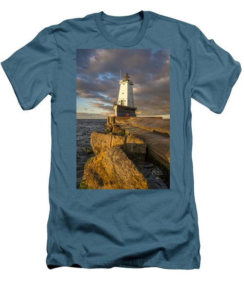 Men's T-Shirt (Slim Fit) featuring the photograph Ludington North Breakwater Lighthouse At Sunrise by Adam Romanowicz