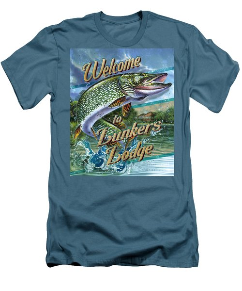 Lunkers Lodge Sign Men's T-Shirt (Slim Fit) by Jon Q Wright