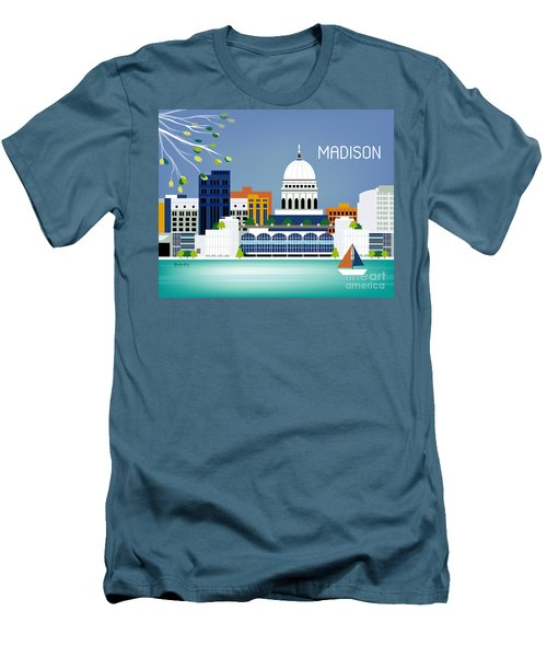 Madison Wisconsin Horizontal Skyline Men's T-Shirt (Athletic Fit)