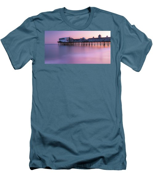 Maine Oob Pier At Sunset Panorama Men's T-Shirt (Slim Fit) by Ranjay Mitra