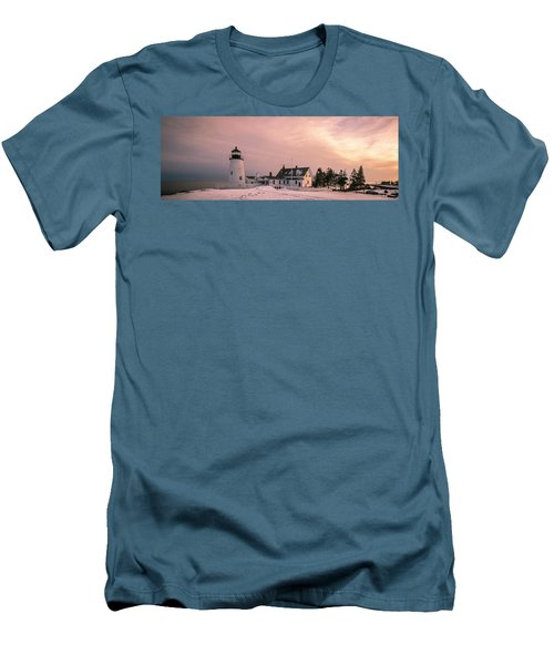Maine Pemaquid Lighthouse After Winter Snow Storm Men's T-Shirt (Slim Fit) by Ranjay Mitra