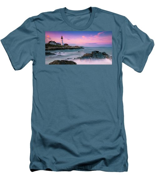 Maine Portland Headlight Lighthouse At Sunset Panorama Men's T-Shirt (Slim Fit) by Ranjay Mitra
