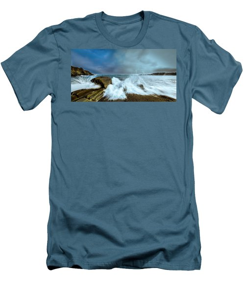 Maine Rocky Coast During Storm At Two Lights Men's T-Shirt (Slim Fit) by Ranjay Mitra