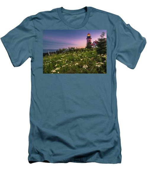 Men's T-Shirt (Slim Fit) featuring the photograph Maine West Quoddy Head Lighthouse Sunset by Ranjay Mitra