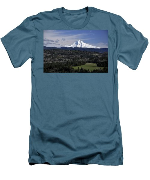 Men's T-Shirt (Slim Fit) featuring the photograph Majestic Mt Hood by Jim Walls PhotoArtist