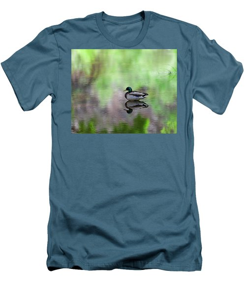 Men's T-Shirt (Athletic Fit) featuring the photograph Mallard In Reflecting Pool H58 by Mark Myhaver