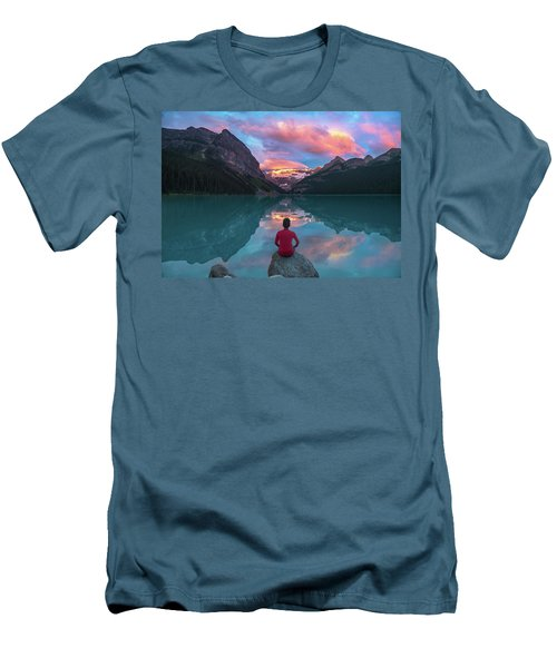 Men's T-Shirt (Athletic Fit) featuring the photograph Man Sit On Rock Watching Lake Louise Morning Clouds With Reflect by William Lee