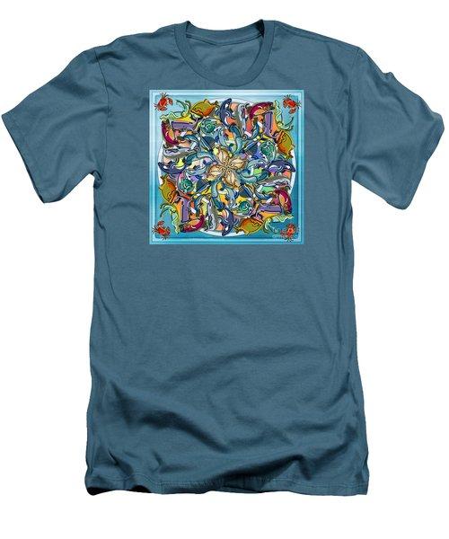Mandala Fish Pool Men's T-Shirt (Slim Fit) by Bedros Awak