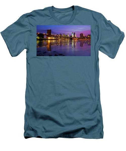 Men's T-Shirt (Slim Fit) featuring the photograph Manhattan Reflection by Mircea Costina Photography