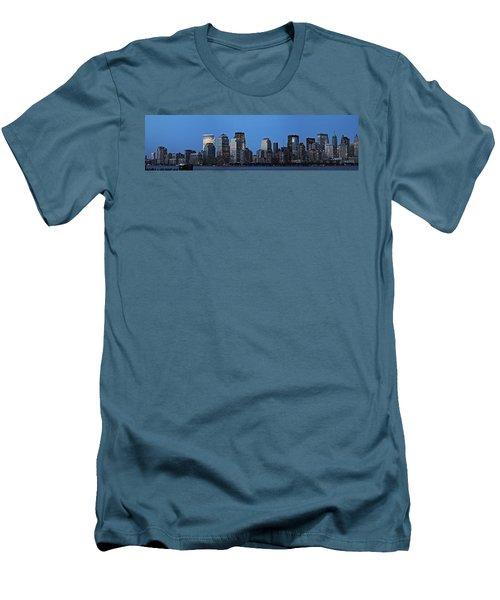 Men's T-Shirt (Slim Fit) featuring the photograph Manhattan Skyline by John Haldane