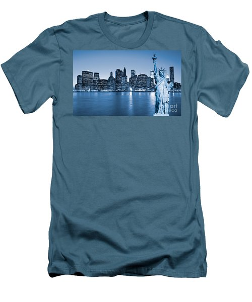 Manhattan Skyline Men's T-Shirt (Slim Fit) by Luciano Mortula