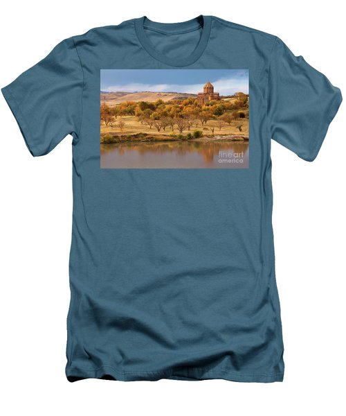 Marmashen Monastery Reflected On Lake At Autumn, Armenia Men's T-Shirt (Slim Fit) by Gurgen Bakhshetsyan