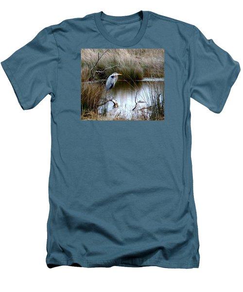 Marsh Pond Great Blue Heron Men's T-Shirt (Slim Fit) by Phyllis Beiser