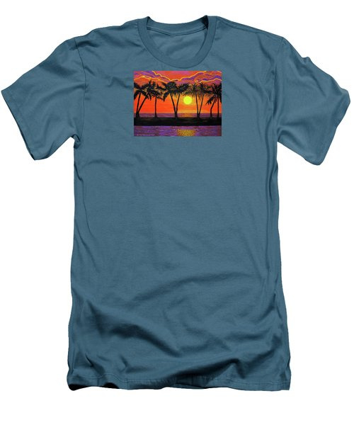 Maui Sunset Palm Trees Men's T-Shirt (Athletic Fit)