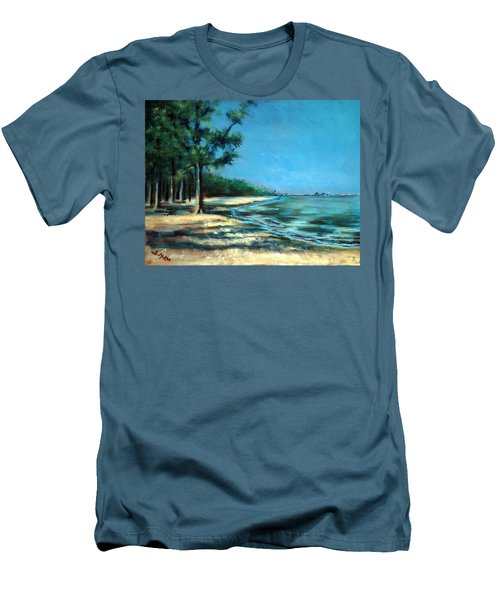 Men's T-Shirt (Slim Fit) featuring the painting Maybe A Picnic by Suzanne McKee