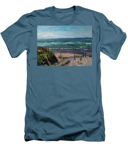 Mayflower Beach Men's T-Shirt (Slim Fit) by Michael Helfen