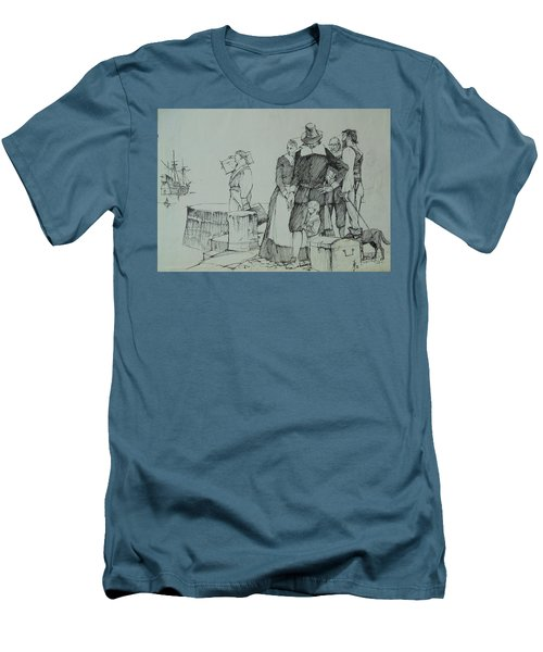 Men's T-Shirt (Slim Fit) featuring the drawing Mayflower Departure. by Mike Jeffries