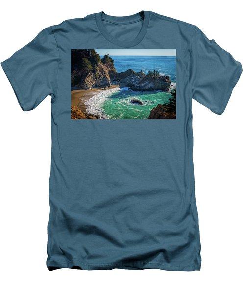 Mcway Falls Julia Pfieffer State Park Men's T-Shirt (Slim Fit) by James Hammond