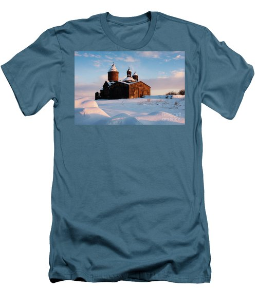 Medieval Saghmosavank Monastery Covered By Snow At Sunset, Armenia Men's T-Shirt (Slim Fit) by Gurgen Bakhshetsyan