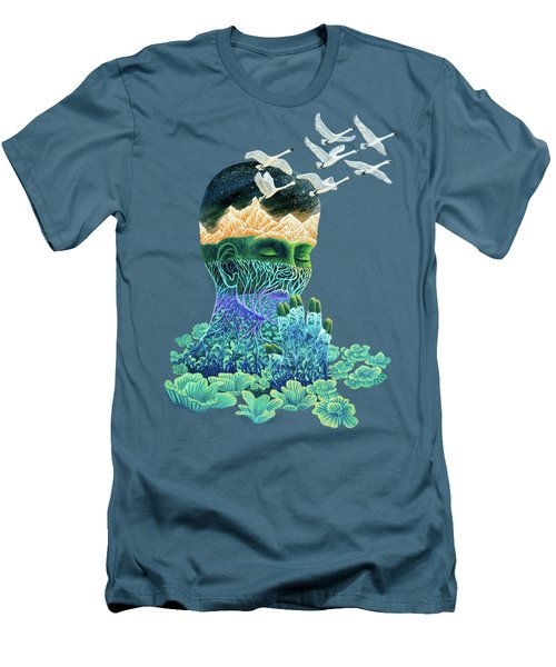 Meditation Men's T-Shirt (Slim Fit) by Ruta Dumalakaite