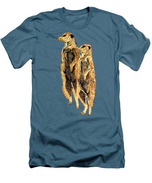 Meerkats Men's T-Shirt (Slim Fit) by Teresa  Peterson