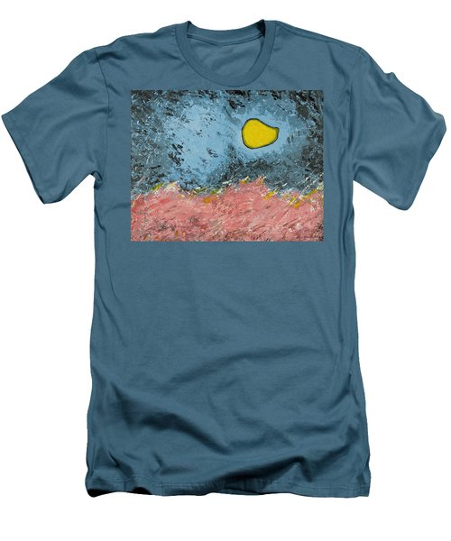 Men's T-Shirt (Slim Fit) featuring the painting Melting Moon Over Drifting Sand Dunes by Ben Gertsberg