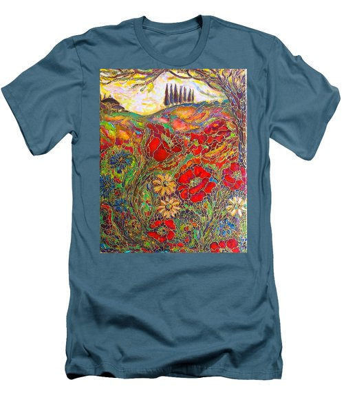 Men's T-Shirt (Slim Fit) featuring the painting Memories Of Tuscany by Rae Chichilnitsky