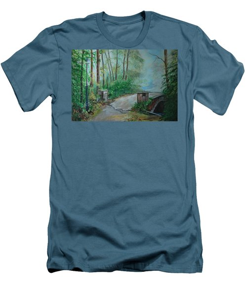 Men's T-Shirt (Slim Fit) featuring the painting Memory Bridge by Leslie Allen