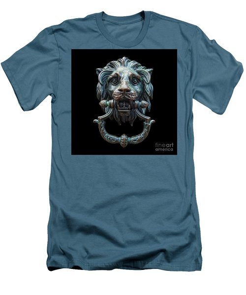 Men's T-Shirt (Slim Fit) featuring the photograph Metal Lion Head Doorknocker Isolated Black by Antony McAulay