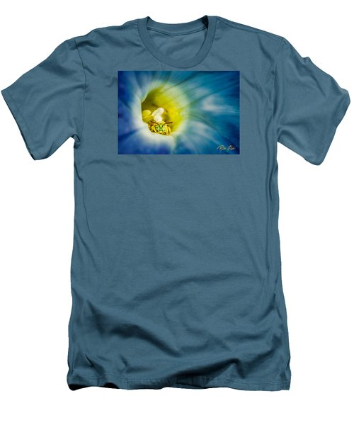 Metallic Green Bee In Blue Morning Glory Men's T-Shirt (Slim Fit) by Rikk Flohr