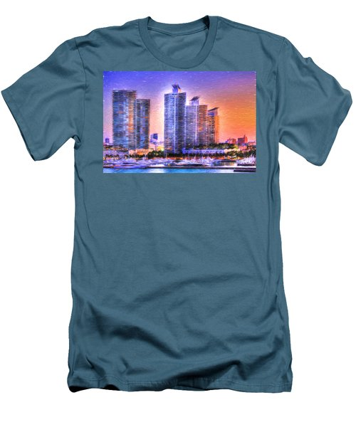 Men's T-Shirt (Slim Fit) featuring the photograph Miami Skyline Sunrise by Shelley Neff