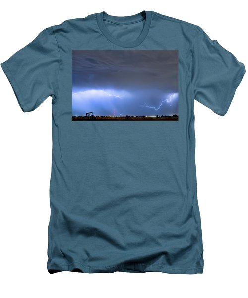 Men's T-Shirt (Slim Fit) featuring the photograph Michelangelo Lightning Strikes Oil by James BO Insogna