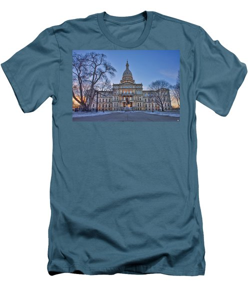 Men's T-Shirt (Slim Fit) featuring the photograph Michigan State Capitol by Nicholas Grunas