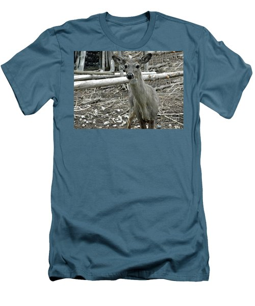 Men's T-Shirt (Slim Fit) featuring the photograph Michigan White Tail Deer by LeeAnn McLaneGoetz McLaneGoetzStudioLLCcom