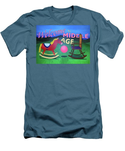 Middle Age Birthday Card Men's T-Shirt (Slim Fit) by Thomas Blood