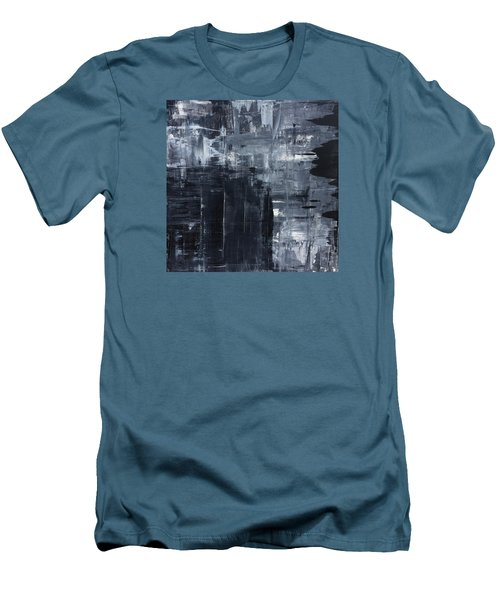 Midnight Shades Of Gray - 48x48 Huge Original Painting Art Abstract Artist Men's T-Shirt (Athletic Fit)