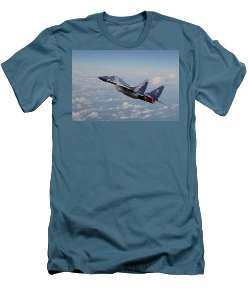 Men's T-Shirt (Slim Fit) featuring the digital art Mig 29 - Polish Fulcrum Dedication by Pat Speirs