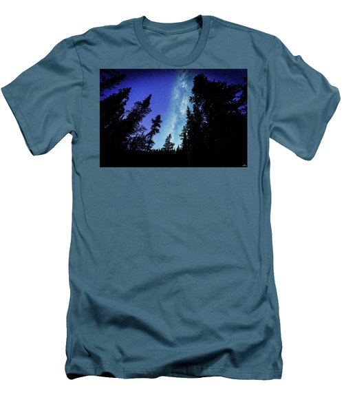 Milky Way Among The Trees Men's T-Shirt (Athletic Fit)