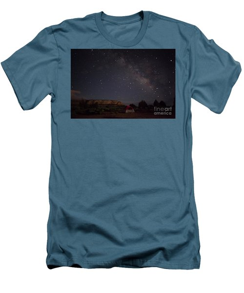 Milky Way Over White Pocket Campground Men's T-Shirt (Slim Fit) by Anne Rodkin