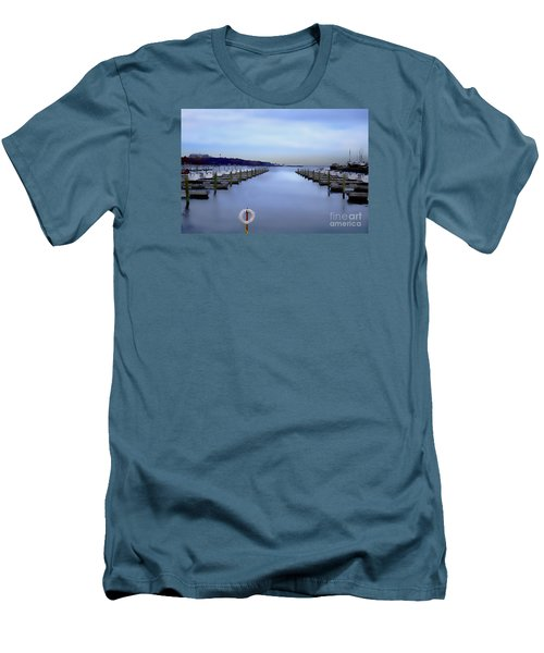 Men's T-Shirt (Slim Fit) featuring the digital art Milwaukee Marina November 2015 by David Blank